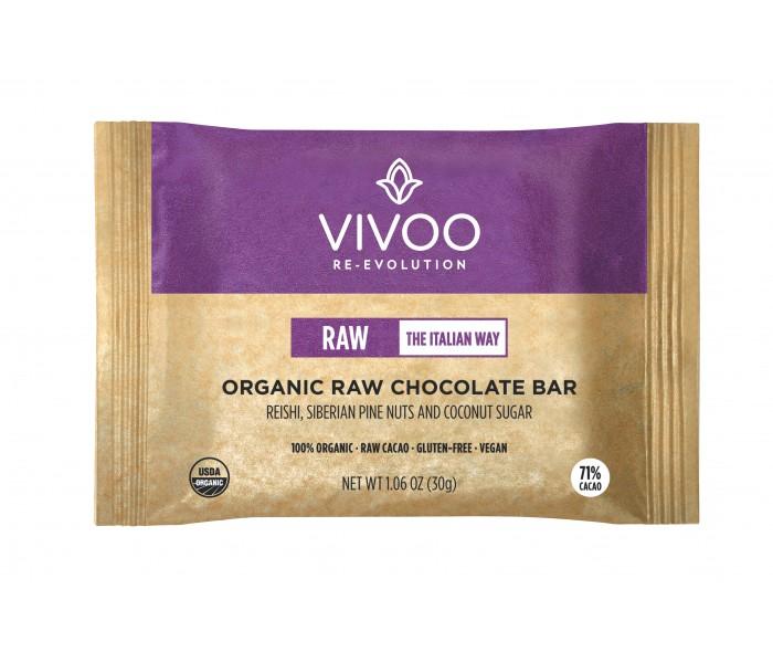 71% presna čokolada z gobami reishi, sibirskimi pinijami in kokosovim sladkorjem