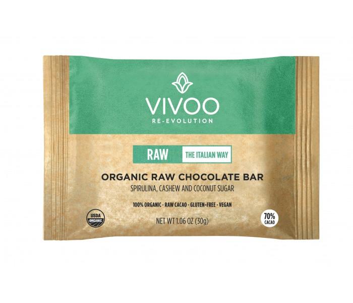 70% presna čokolada s spirulino, indijskimi oreščki in kokosovim sladkorjem